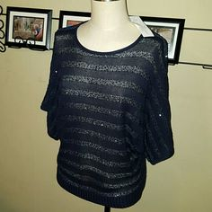 """Navy Blue Sequin Sweater Sheer Knit Top New York & Company brand.  Womens Size Large. Knit Top/Sweater with wide """"dolman"""" sleeves. Navy Blue with sudtle sequin detailing. Sheer material through knit fabric.  61% Acrylic, 39% Polyester. Stretchy. Brand new with tags. Never worn. New York & Company Tops Blouses"""