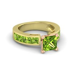 Princess Peridot 18K Yellow Gold Ring | Chloe Ring | Gemvara