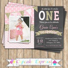 Un primer cumpleaños niña coral rosa pizarra por CupcakeExpress