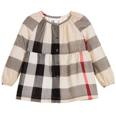 Burberry Girls Beige New Classic Check Blouse at Childrensalon.com