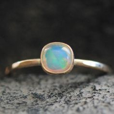 Cushion Opal Ring in 14k Gold - Dainty - Artisan Spring Collection -- Ready to Ship US Size 5.5 on Etsy, $274.00