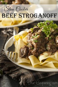 This is my favorite Slow Cooker Beef Stroganoff recipe! So simple and so good!