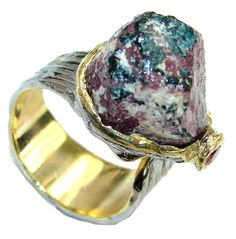 $55.85 Stylish! Rough Ruby , Gold Plated, Rhodium Plated Sterling Silver Ring s. 7 - Adjustable at www.SilverRushStyle.com #ring #handmade #jewelry #silver #ruby