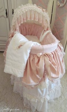 Gorgeous Pink Bassinet girl pink home pretty baby little nursery bassinet baby room baby room idea babies room babys room baby girls room ideas