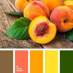 алый, апельсиновый, желтый и зеленый, зеленый, зеленый и желтый, зеленый и оранжевый, коралловый, коричневый, оливковый, оранжевый, оттенки цвета персик, тёмно-зелёный, цвет апельсина.