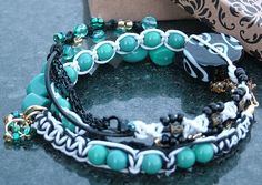 Handmade Boho Alternative Macrame, Leather, and Hemp Necklace or Triple Wrap Bracelet in Black, Turquoise, White, and Gold