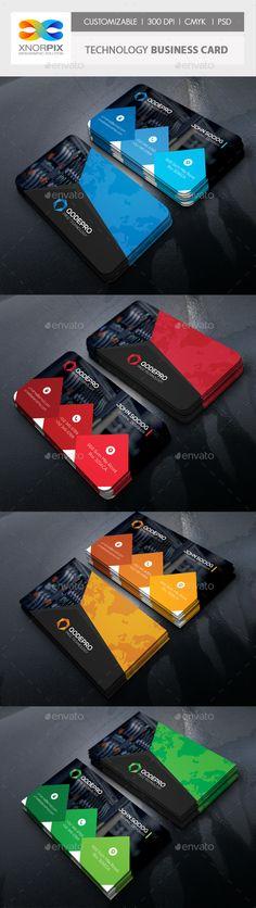 Technology Business Card Template PSD