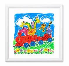 "Sally Huss, Happy Musings ~ Happy Animal Train, framed print, 11""x11"".  $36.98"