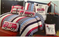 Gorgeous Images Of Fire Truck Themed Bedroom For Boy Bedroom Design And Decoration : Fascinating Image Of Boy Red Fire Truck Bedroom Design And Decoration Ideas Using Red Fire Truck Kid Bedroom Pillow Including Red Blue Stripe Kid Bedding And Black Wood Platform Bed Frame