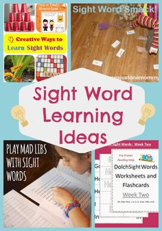 Lots of Sight Word Learning activities