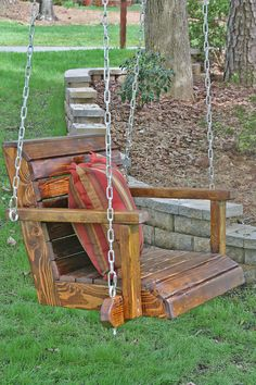 Constructed of pine and cedar wood. This beautiful swing is custom order in your. of pine and cedar wood. This beautiful swing is custom order in your. Wooden Swing Chair, Wooden Swings, Swinging Chair, Swing Chairs, Wooden Footstool, Backyard Swings, Pergola Swing, Cheap Pergola, Pergola Kits