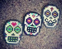 Sugar Skull Perler Bead Magnet by PrebreakofdawnCrafts on Etsy, Melty Bead Patterns, Pearler Bead Patterns, Perler Patterns, Beading Patterns, Halloween Beads, Candy Skulls, Sugar Skulls, Peler Beads, Melting Beads