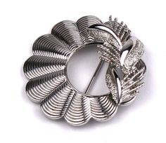 Vintage Coro Silver Scalloped Wreath Brooch
