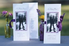 "It would be awesome if we could do something like this....    ""Michaels.com Wedding Department: Pearl Border Tri-fold Program Tell your story with a personalized program. Print your ceremony details on our white pearl tri-fold program paper, add a beloved photo on colored backer paper and finish with your favorite ribbon.Courtesy of Gartner Studios®."""
