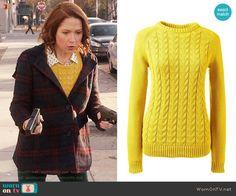 Kimmy's yellow sweater on Unbreakable Kimmy Schmidt. Outfit Details: https://wornontv.net/72045/ #UnbreakableKimmySchmidt