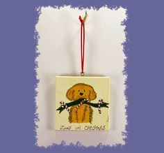 Golden Retriever Dog's first 1st Christmas by PawstoPaint on Etsy
