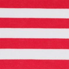 Lipstick and White Stripe Cotton Jersey Knit Fabric