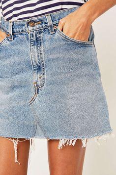 Urban Renewal Vintage Re-Made Levi's Denim Mini Skirt