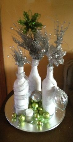 2nd version of epsom salt wine bottle decoration for Christmas.