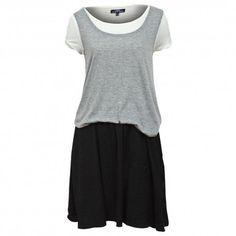 Vestido 3 en 1 falda, camiseta ytop.Material(es) 95% Viscosa y 5% Elastano.Color(es) Negro, Blanco y Gris.