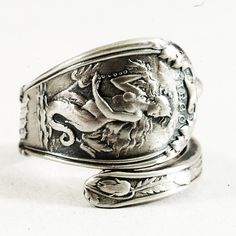 Petite Virgo Zodiac Spoon Ring with Mermaid Sterling by Spoonier