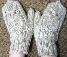 Варежки спицами «Сова» | Варежки | Вязание спицами и крючком. Схемы вязания.