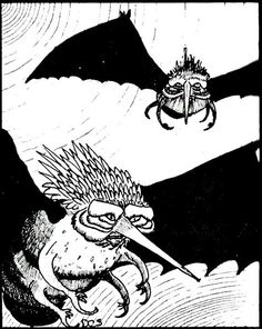 Two stirges hungry for blood, searching for warm bodies. (David Sutherland from the AD&D Monster Manual, TSR, 1977. See also from the same volume.)