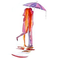Abstract Love red ubrella watercolor painting, Love art, Red umbrella watercolor painting 13 x 19 inch by Elena Romanova ($65) found on Polyvore