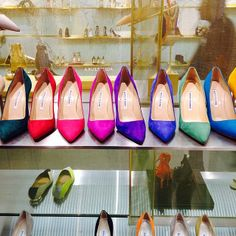 From the Glamour Instagram: A rainbow of Manolos spotted at @Sarah Barney New York