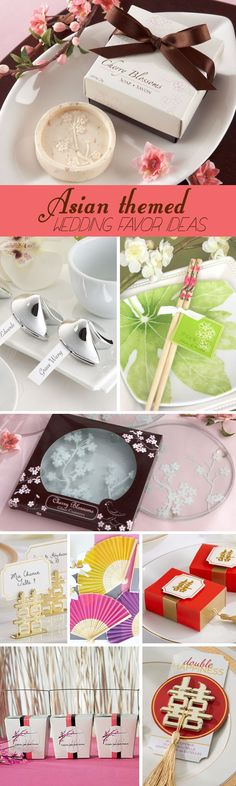 Asian Themed Wedding Favor Ideas including cherry blossoms, bamboo chopsticks, happiness symbols and more....