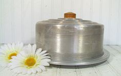 Mid Century Round Cake Carrier with Wood Handle  by DivineOrders, $18.00