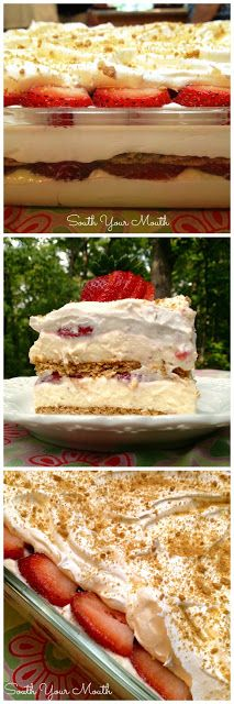"""Strawberry Cream Cheese Icebox Cake """"This is a layered dessert with graham crackers, a no-bake cheesecake filling and fresh strawberries. It's crazy easy to make so delicious!"""" Use GF Graham crackers. 13 Desserts, Layered Desserts, Baking Desserts, Icebox Desserts, Icebox Cake Recipes, Southern Desserts, Desserts With No Eggs, Desserts With Strawberries Easy, Cheesecake Recipes"""