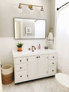 lalu bean: Our Bathroom Reveal Modern Bathrooms Interior, Small Apartment Interior, Bathroom Interior Design, Bathroom Makeovers On A Budget, Bathroom Renovations, Small Space Bathroom, Upstairs Bathrooms, Cute Home Decor, Home And Living