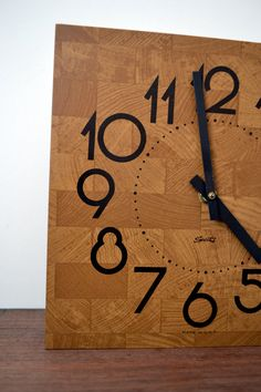 faux butcher block clock