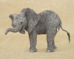 Toby the African Elephant Calf: Needle felted animal sculpture by The Woolen Wagon