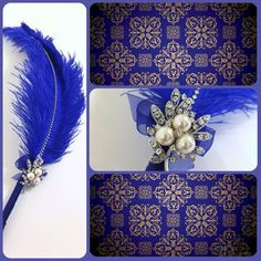 Large Elegant Royal Blue Feather Pen with Pearl by LoveMimosaFleur