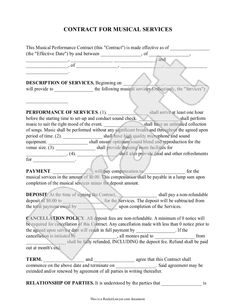 Free and printable disc jockey contract form rc123 d j cont sample musical performance contract form template altavistaventures Images