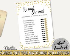 He Said She Said Game Bridal Shower He Said She Said Game Confetti Bridal Shower He Said She Said Game Bridal Shower Confetti He Said CZXE5 - Digital Product bridal shower wedding bride to be bridesmaids
