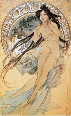 Image: Alphonse Mucha - Die Musik, 1898. Aus der Serie ''Die Vier Kuenste''.