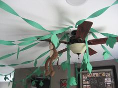 kids jungle birthday party pictures | ... streamers with little leaves taped to them for the jungle vine look