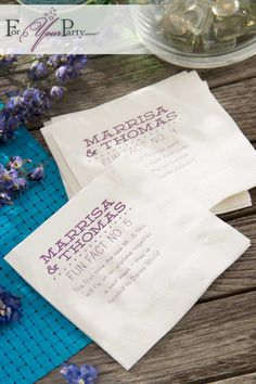"We love these ""Fun Facts"" wedding napkins. Entertain your guests by personalizing your party cocktail napkins with some interesting facts about your relationship. Design your own at ForYourParty.com."