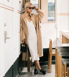 look white dress trench coat