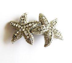 Silver Rhinestone Starfish Hair Clip Crystal by dreamsbythesea