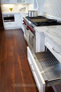 Kitchen Designs by Ken Kelly photo of the appliances in a white kitchen that is painted and has wood floors. Appliances included are Wolf an...