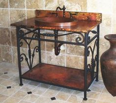 Delarue Wrought Iron Sink Stand With Towel Bar Pinterest Wrought - Wrought iron bathroom vanity stand