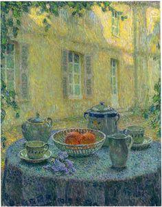 The Blue Tablecloth at Gerberoy-Henri Le Sidaner - 1925