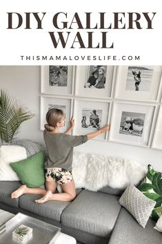 How to create a grid style gallery wall in your living room! #gallerywall #gridstyle #livingroomphotos #photocollage #gridstylegallery #ikeaframes #livingroominspo #blackandwhitegallerywall
