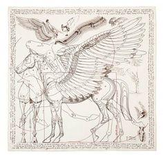 "lapetitemandarine: "" Hermes scarf Pegasus, inspired by Leonardo Da Vinci's sketches "" Pegasus, Deco Paint, Paisley, Designer Scarves, Hermes Handbags, Scarf Design, Horse Art, Fantasy Creatures, Mythical Creatures"