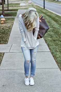 threaddiction: Easy Like Sunday Morning Old Navy striped pullover AEO distressed jeans jeggings converse white chucks louis vuitton neverfull mm casual outfit