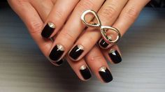 Black & gold half-moon nail art :: one1lady.com :: #nail #nails #nailart #manicure